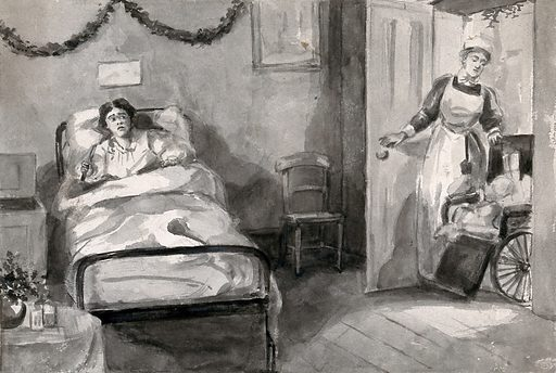 A girl in bed clutching a knife as she anxiously looks towards a nurse entering the room with a wheelchair. Watercolour. Work ID: mca9x6jc.