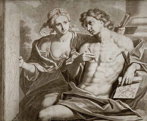 A young man holding a stylus and a drawing, being shown a drawing of Fame by a female figure personifying Painting. Wash drawing by F Dekker after G Reni. Created 1700–1799. Contributors: Guido Reni (1575–1642); Frans Decker (1684–1751). Work ID: ntxn2946.