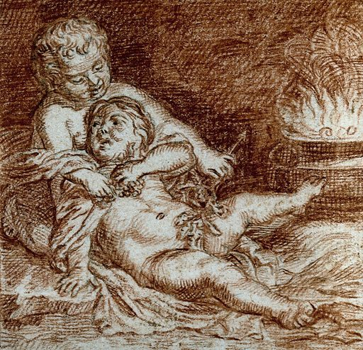 A seated and a reclining boy clutching grapes before a brazier. Red chalk drawing. Work ID: grwwp7xe.