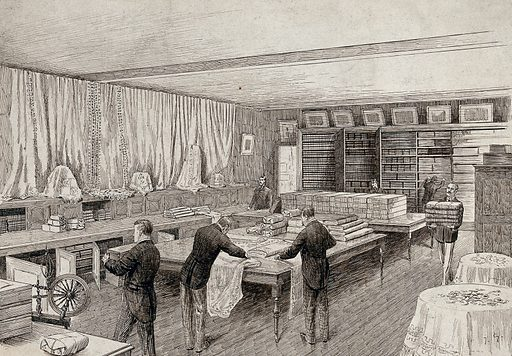 The interior of a draper's shop with figures carrying and measuring cloth. Pen and ink drawing. Retail. Stores. Workshops. Work ID: h4srr4ga.
