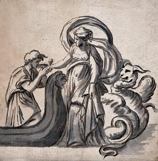 A woman with billowing drapery standing before a coiled serpent as she offers a cup to a young man in a barge. Pen and ink drawing. Work ID: ytc8t532.