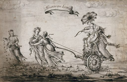 The triumph of love: Cupid and a young woman being drawn in a chariot by two women while a third scatters roses before them. Watercolour by JG Steiner, 1789. Created 21 Dec 1789. Contributors: Johann Georg Steiner (1746–1830). Work ID: cdequdr6.