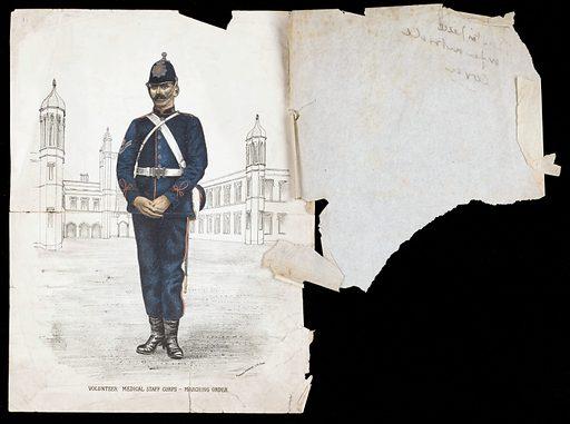 A Medical Staff Vounteer. An illustration of Volunteer Medical Staff Corps marching order and drill. Work ID: n5m4ke4n.