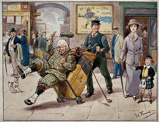 In a railway station, an elderly golfer is being knocked down by a luggage porter who is looking at a beautiful young woman. Drawing by GH Thompson, ca 1940. Created 1940. Contributors: G H Thompson. Work ID: a6eg69u8.