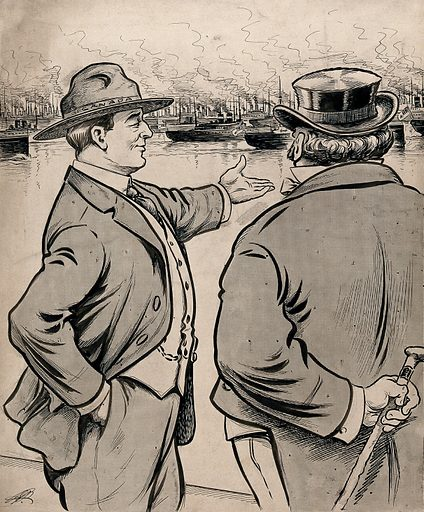 A man personifying Canada is showing a fleet of ships to a man with a walking stick (Britain?) Drawing by AG Racey, 191–. Created 1910–1919. Contributors: A G Racey (1870–1941). Work ID: b5s8tbjk.