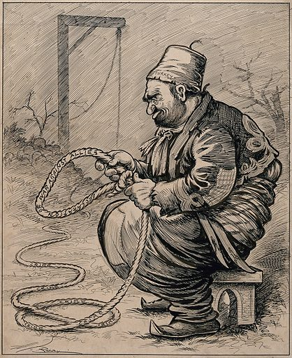A Turkish man seated on a stool is holding a rope on which is written 'declaration of war against the allies'. Drawing by AG Racey, 191–. Created 1910–1919. Contributors: A G Racey (1870–1941). Work ID: jr5zg6ne.