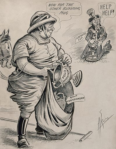 A polo-player adding a prize for polo to his prize for golf casts an envious eye on the America's cup, which Uncle Sam wants to keep. Drawing by AG Racey, 191–. Created 1910–1919. Uncle Sam (Symbolic character). Polo. America's Cup. Contributors: A G Racey (1870–1941). Work ID: dxu8fckm.