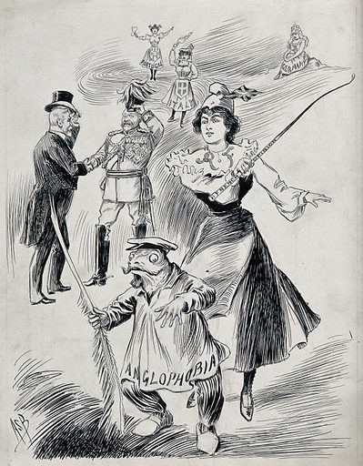 """The Entente Cordiale: Marianne (a woman representing France) is chasing away a frog on which is written """"Anglophobia""""; King Edward VII and President Émile Loubet shaking hands in the background. Ink drawing by AS Boyd, ca 1903. The frog wears a sailor's cap and holds a frond downwards. Women representing Portugal and Italy cheer the agreement, while Germany remains apart in a sedentary position. Created 1903?. Marianne (French emblem). Great Britain – Foreign relations – France. France – Foreign relations – Great Britain. Edward VII, King of Great Britain (1841–1910). Emile Loubet (1838–1929). Contributors: A S Boyd (1854–1930). Work ID: c27mm3fd."""