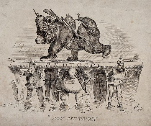 A bear wearing a Prussian helmet and a gun is walking on a platform supported by six men. Drawing by MCP, 12 July 1877. Created 1877. Contributors: M C P Work ID: r6wfgqes.