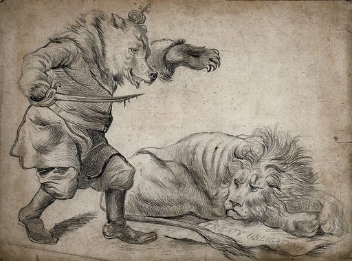 A bear sporting a crown and holding a sword is about to attack a lion lying on a sheet of paper. Drawing, ca 1880. Created 1880. Work ID: bujtes3t.