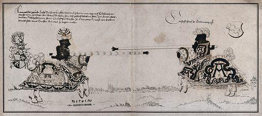 Two men on horseback, wearing lavish armour, facing each other at a jousting tournament. Colour lithograph, by Th. und C Senefelder, 1817, after H Östendorfer, 1541. Created 1817. Medieval. Tournaments. William IV, Duke of Bavaria (1493–1550). Contributors: Hans Östendorfer (-approximately 1570); Clem. Senefelder; Theobald Senefelder (1777–). Work ID: rm8umtsn.