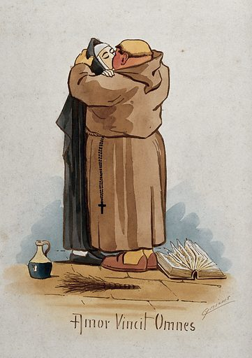 A monk kissing a nun on the mouth; open book (Bible ?) at their feet. Watercolour by M Anderson. Created 1850. Contributors: Cynicus (1854–1932). Work ID: k8eq9gh7.