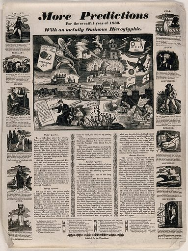 Various political and social events of 1830; twelve months of the year on each side of the central image. Woodcut, 1830. Created 1830. Work ID: x2vsaeh3.