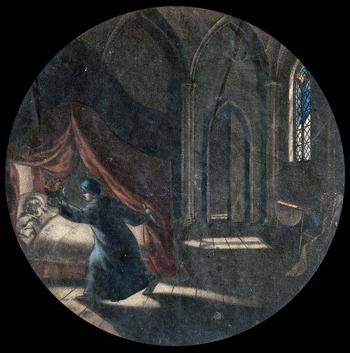 A man holding an oil lamp is standing next to a woman asleep in a canopied bed; Gothic window in the background. Coloured mezzotint, ca 1800. Created 1800?. Work ID: gkgbkfma.