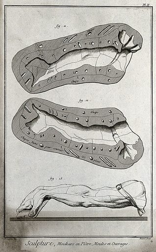 Two halves of a plaster mould of an arm and an entire plaster mould of an arm. Engraving by R Bénard after Bourgeois. Contributors: Bourgeois. Work ID: xgwrgbyp.