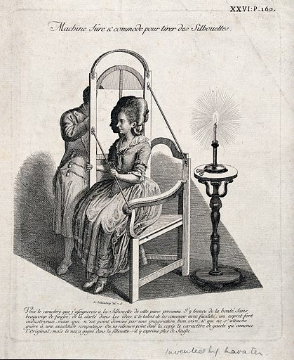 A man drawing the silhouette of a seated woman on translucent paper suspended in a frame and lit by a candle. Etching by JR Schellenberg, 1783. Created 1783. Contributors: Johann Rudolf Schellenberg (1740–1806). Work ID: u476nnvs.
