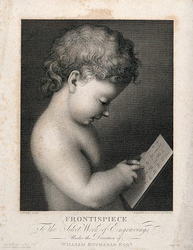 Cupid learning to read the letters of the alphabet. Engraving after A Allegri, il Corrreggio. Literacy. Cupid (Roman deity). Contributors: Correggio (1489?-1534); Raffaello Morghen (1761–1833). Work ID: awwrfpnb.