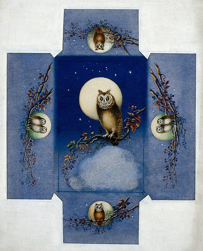 Design for a box with owls perched on branches against a full moon. Gouache. Work ID: dgnkwhdb.