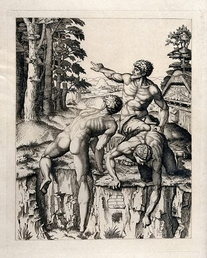 Bathers on the edge of a river bed, with hunters emerging from the forest on the left. Engraving after M Raimondi, 1510. Contributors: Marcantonio Raimondi (approximately 1480–approximately 1534). Work ID: q6q4ermh.