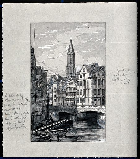 A cityscape with a bridge over a river. Wood engraving by H Linton. Contributors: Henry Duff Linton (1815–1899); R C Work ID: dsae3ygz.
