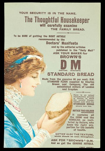 """Leaflet for Brown's DM Standard Bread….. Possibly a magazine insert. This shows a woman with brown hair, tied with a blue ribbon, dressed in a blue and white dress with a pink necklace examining half a loaf of bread against a greenish- grey background. This exists in at least two forms with different text on the back. In this instance the firm is based at Tower Bridge Mills, London and the text begins, """"A genuine """"Standard"""" sample loaf FREE (see coupon below)…"""". Work ID: jupa8yx6."""