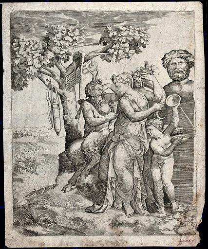 Pan seated next to a nymph who holds a cornucopia with Cupid playing cymbals before a herm. Engraving by G Bonasone, 15 –. Created between 1500 and 1599. Contributors: Giulio Bonasone (approximately 1498–approximately 1580). Work ID: mfcw42vk.