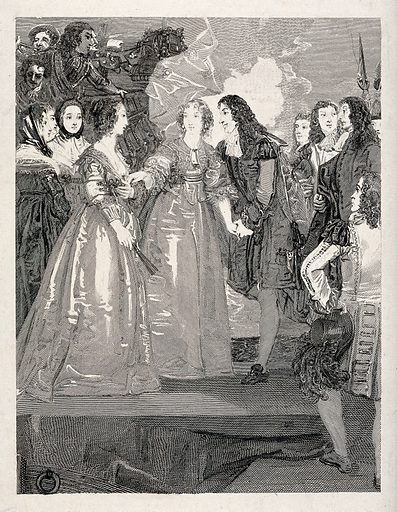 A man and two women, perhaps members of the Stuart royal family, taking leave of each other on a dock side. Engraving, unfinished. Work ID: rcnsueha.