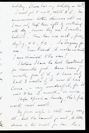 Letter by Charles Spurgeon, Baptist preacher, describing the healthy climate of Upper Norwood. Work ID: hudqskkz.