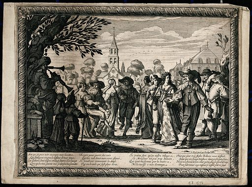 Country dance, performed by villagers. Engraving by Abraham Bosse, 1633.. On the right, an old man holds his spectacles up to see a country bride (garlanded with her hair let down) and husband leading a gavotte in front of the local church. Created 1633. Contributors: Abraham Bosse (1602–1676). Work ID: dbnra72k.