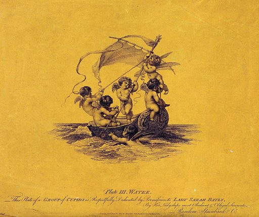 Cupids in a sailing boat, representing the element water. Stipple engraving by A Cardon, 1802, after AW Devis. Created Jan.y 30 1802. Cupids (Art). Contributors: Arthur William Devis (1762–1822); Anthony Cardon (1772–1813); Sarah Bayley, Lady (1779–1852). Work ID: buq98qxv.