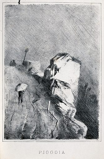 A man holding an umbrella is walking up a road in the rain. Lithograph by G Gorra, 18 –. Created 1800–1899. Rainstorms. Contributors: Giulio Gorra (1832–1884). Work ID: qz63vnsq.