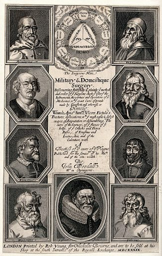 The Tetragrammaton and orders of heaven surmounting portraits of famous medical philosophers (Aesculapius, Hippocrates, Galen, Avicenna etc.) and John Woodall. Engraving by G Glover, 1639. Created 1639. John Woodall (1556?-1643). Contributors: George Glover (approximately 1618–); John Woodall (1556?-1643). Work ID: hd2addbt.