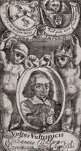 Two putti supporting a roundel with the portrait of John Bulwer. Etching, ca 1650. Above portrait, (left) a coat of arms and (right) books illustrated with a face and a hand, indicating the chief subjects of Bulwer's writings. Created 1650. J B (1606–1656). Contributors: J B (1606–1656). Work ID: bx48eg64.