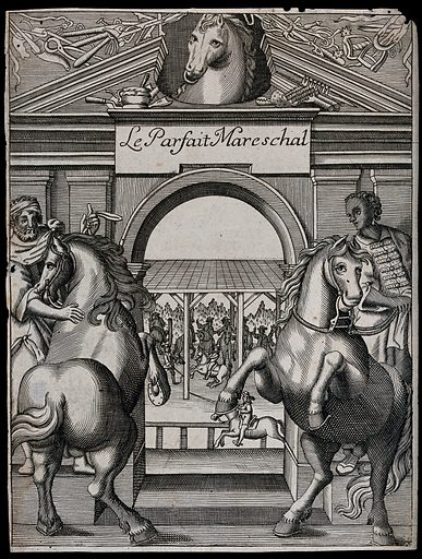 Two men with horses in front of a classical monument decorated with the head of a horse on the pediment; horse-riders in the background. Engraving, ca 1679/1718. On pediment, carvings representing veterinary instruments. Created 1679?/1718. Contributors: Jacques de Solleysel (1617–1680). Work ID: tpn7jn4p.