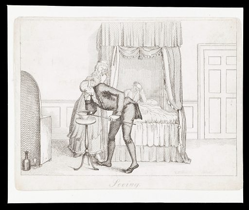A physician holds his nose as he examines the faeces of a patient. Etching by TL Busby, ca 1826. The physician is tall and old-fashioned: he wears a wig and knee breeches. A nurse holds her nose. The patient is in bed clutching his head Possibly representing Sight (or did the author mean Smell?) in a set of the five senses: Touch is no. 664604i in the Wellcome Library catalogue. Created 1826?. Physicians. Diagnosis. Feces. Nurses. Patients. Contributors: Thomas Lord. Busby. Work ID: ty23jb6f.