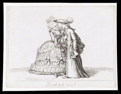 A French lady from the Ancien Régime sympathizing with a young cleric who has toothache. Etching by TL Busby, ca 1826. The lady wears a richly decorated dress. The cleric wears a broad-brimmed hat. Created 1826?. Sympathy. Patients. Contributors: Thomas Lord. Busby. Work ID: dns5qj5t.