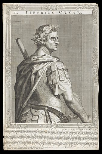 Tiberius, Emperor of Rome. Line engraving, 16 –, after A Sadeler after Titian. Half-length portrait from behind, facing towards the right, surrounded by an etched frame with swept centres and corners. Created between 1700 and 1799?. Emperor of Rome Tiberius, 42 BC-37 AD Contributors: Titian (approximately 1488–1576); Ægidius Sadeler (1568–1629). Work ID: nm8cve8f.