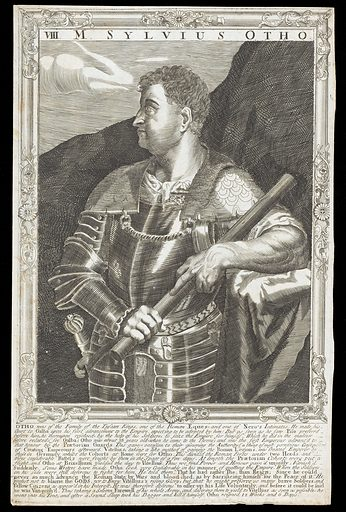 Otho, Emperor of Rome. Line engraving, 16 –, after A Sadeler after Titian. Half-length portrait, wearing armour, facing to left, holding staff with both hands, surrounded by an etched frame with swept centres and corners. Created between 1700 and 1799?. Marcus Salvius Otho, Emperor of Rome (32–69). Contributors: Titian (approximately 1488–1576); Ægidius Sadeler (1568–1629). Work ID: vwazntn2.