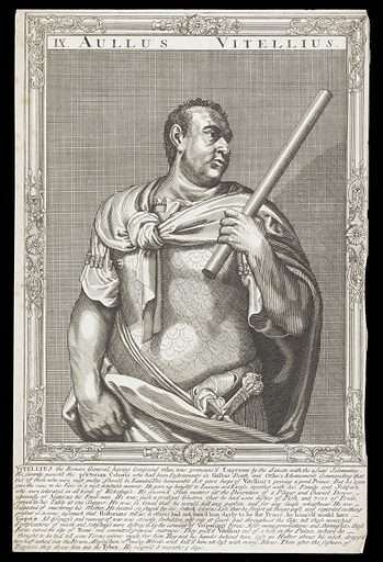 Vitellius, Emperor of Rome. Line engraving, 16 –, after A Sadeler after Titian. Half-length portrait, wearing armour, directed to front, facing to right, holding staff in his left hand, surrounded by an etched frame with swept centres and corners. Created between 1700 and 1799?. Aulus Vitellius, Emperor of Rome (15–69). Contributors: Titian (approximately 1488–1576); Ægidius Sadeler (1568–1629). Work ID: kws4m6jd.