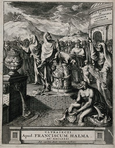 An ancient priest killing a lamb as a sacrifice amidst a crowd of people. Etching by J van den Aveele, 1681. The priest has cut open the underside of the lamb and holds up its stomach and guts (?). Its heart and aorta are on the ground. Right, another priest swings a censer; left, a third priest purifies the people with drops of liquid shaken from a thyrsus. Foreground, a man washes himself in the water of a fountain. Left background, human sacrifice. Created 1681. Animal sacrifice. Contributors: Johannes van den Aveele (-1727); Johannes Lomeier (1636–1699). Work ID: qqg9gk59.