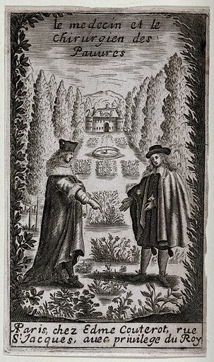 A physician and a surgeon pointing to herbs in a herb garden; indicating medicine and surgery for the poor. Engraving, 1671. Created 1671. Herbs. Gardens. Herb gardens. Physicians. Surgeons. Poor – Medical care. Contributors: Paul. Dubé. Work ID: f2k29ryj.