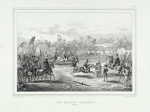 Eglinton Tournament: knights performing jousts. Lithograph by H Wilson after CA d'Hardiviller, 1839. Created 1839?. Eglinton Tournament. Medieval. Tournaments. Scotland. Contributors: Charles Achille d' Hardiviller (1795–approximately 1835); Hugh Wilson (1797–approximately 1872). Work ID: q6j45sd6.