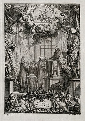 Surgery: a doctoral candidate defending a thesis in surgery at the Académie Royale de Chirurgie, Paris. Etching by PF Tardieu after C Eisen, 1751. Attributes of surgery are present: skeletons pull back curtains to reveal the scene; cupids practise bloodletting (below left) and amputation of the leg (below right) Above, a medallion to Apollo Salutaris, in which Apollo shows surgical instruments to Hygieia while she points to symbols of anatomy and pharmacy. Created 1751. Academic. Degrees. Academic. Dissertations. Surgery – Study and teaching. Académie royale de chirurgie (France). Contributors: Charles Eisen (1720–1778); Pierre François Tardieu (1711–1771). Work ID: r5q6aaz6.