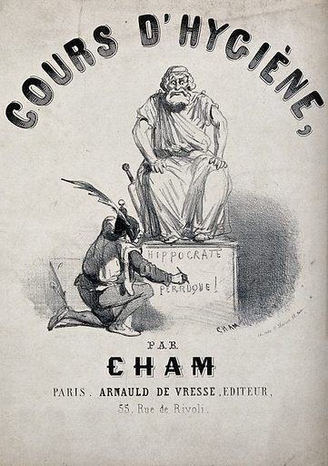 A fool is writing an insult on the pedestal of a statue of Hippocrates. Lithograph by Cham, ca 1850. Created 1850?. Contributors: Cham (1819–1879). Work ID: tfwyka7d.