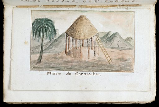 """Watercolour of a house (hut) on the island of Carnicobar, Indian Ocean, titled """"maison de Carnicobar"""". Work ID: f49q93kb."""