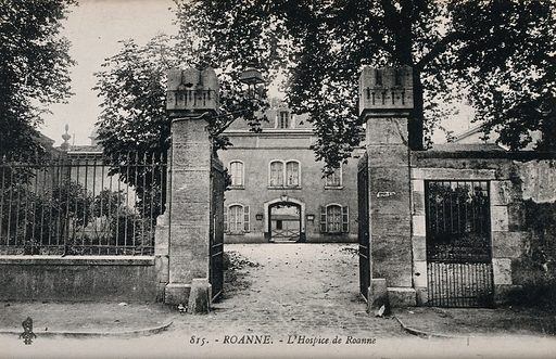 The hospice of Roanne, France. Photographic postcard, ca 1910. Created 1910?. Work ID: u66dwhtv.