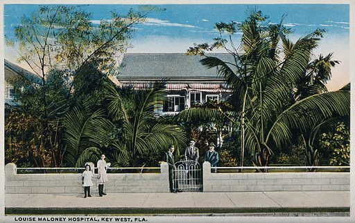 Louise Maloney Hospital in Key West, Florida, United States. Photographic postcard, ca 1930. Created 1930?. Work ID: vv8bmp8x.