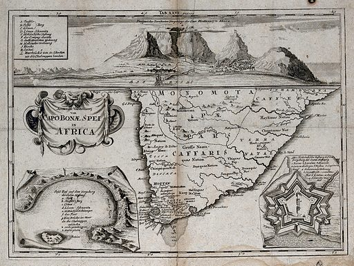 Cape of Good Hope, South Africa: map. Engraving, ca 1680. Created 1680?. Cape of Good Hope (South Africa). Work ID: pr56a7sw.