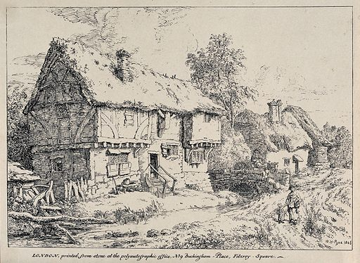 Two farmhouses; woman and child in the foreground. Lithograph by WH Pyne, 1806. Created 1806. Contributors: W H Pyne (1769–1843). Work ID: rnz4u3yd.