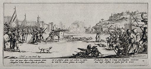 A firing squad executing criminal soldiers. Etching by Jacques Callot, ca 1633. Contributors: Jacques Callot. Work ID: vmxr3dae.